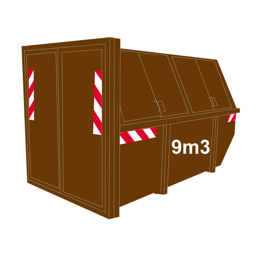 Hout container dicht 9m3